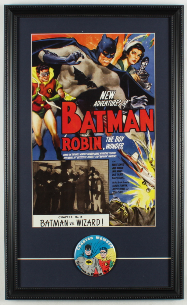 """New Adventures of Batman & Robin the Wonder Boy"" 15x24.5 Custom Framed Print Display with Original Vintage 1965 Batman Fan Club Member Pin at PristineAuction.com"