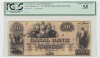 1850s $20 Twenty-Dollar New Orleans, Louisiana Canal & Banking Co. Remainder Note (PCGS 58) at PristineAuction.com