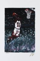Michael Jordan - Bulls - Joshua Barton 12x18 Signed Limited Edition Lithograph #/250 (PA COA) at PristineAuction.com