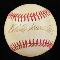 Eddie Mathews Signed 1986 World Series Baseball (JSA COA) (See Description) at PristineAuction.com