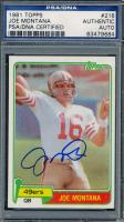 Joe Montana Signed 1981 Topps #216 RC (PSA Encapsulated) at PristineAuction.com