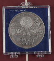 Vintage Disney World 15x16 Custom Framed Epcot Center Map Display with Vintage Epcot Center Information Pamphlet & Silver Coin (See Description) at PristineAuction.com