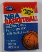 1986 Fleer Basketball Unopened Wax Pack with Larry Bird #2 Showing at PristineAuction.com