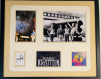 "Jimmy Page, Robert Plant & John Paul Jones Signed ""Led Zeppelin"" 27x31.5 Custom Framed Photo & Cut Display (JSA LOA & JSA COA) at PristineAuction.com"