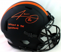 """Jarvis Landry Signed Browns Full-Size Authentic On-Field Eclipse Alternate Speed Helmet Inscribed """"Welcome To The DawgPound"""" (Beckett COA) at PristineAuction.com"""