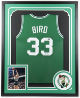 Larry Bird Signed 34x42 Custom Framed Jersey Display with Celtics Patch (PSA COA & Bird Hologram) at PristineAuction.com
