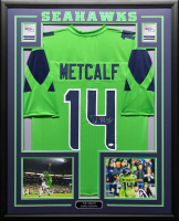 DK Metcalf Signed 34.5x42.5 Custom Framed Jersey (Beckett COA) at PristineAuction.com