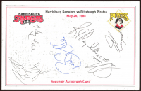 1988 Pirates 6x8 Souvenir Print Signed by (7) with Bobby Bonilla, Mike LaValliere, Barry Bonds, R.J. Reynolds (Beckett LOA) (See Description) at PristineAuction.com