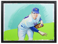 Brian Kong Signed 20x24 Custom Framed Tom Seaver Original Artwork on Canvas at PristineAuction.com