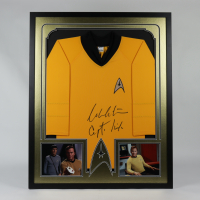 "William Shatner Signed ""Star Trek"" 34x42 Custom Framed Uniform Shirt Display Inscribed ""Capt. Kirk"" (JSA COA) at PristineAuction.com"