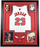 Michael Jordan Signed Bulls 35.5x43.5 Custom Framed Jersey (JSA LOA) at PristineAuction.com