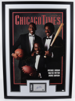 Michael Jordan, Andre Dawson & Walter Payton Signed 29.5x41.5 Custom Framed Display (JSA LOA & PSA Encapsulated) at PristineAuction.com