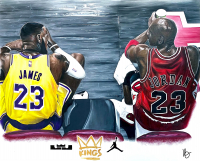 "Varian Ford Jr Signed ""Kings"" 14x17 LeBron James & Michael Jordan Original Mixed Media Artwork at PristineAuction.com"