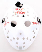 """Ari Lehman Signed """"Friday the 13th"""" Mask Inscribed """"F*** Freddy!"""" & """"Jason 1"""" (Lehman Hologram) (See Description) at PristineAuction.com"""
