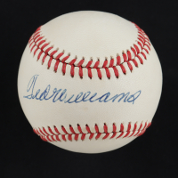 Ted Williams Signed OAL Baseball with Display Case (PSA LOA) (See Description) at PristineAuction.com