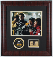 """The Goonies"" Signed 17x18 Custom Framed Photo Display Signed by (4) With Jeff Cohen, Sean Astin, Jonathan Ke Quan & Corey Feldman (JSA Hologram) at PristineAuction.com"