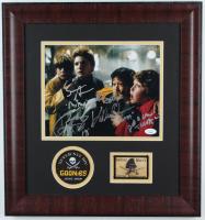 """The Goonies"" Signed 17x18 Custom Framed Photo Display Signed by (4) With Jeff Cohen, Sean Astin, Jonathan Ke Quan & Corey Feldman (JSA Hologram) at PristineAuction.com"