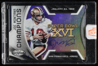 Joe Montana 2020 Panini Honors Buyback Autograph - 2016 Certified Champions #8 - #1/4 (Panini Encapsulated) at PristineAuction.com
