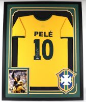 Pele Signed 34x42 Custom Framed Jersey Display (PSA COA) at PristineAuction.com