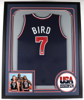 Larry Bird Signed 34.5 x 42.5 Custom Framed Jersey (PSA COA & Bird Hologram) at PristineAuction.com