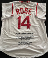 "Pete Rose Signed Career Highlight Stat Jersey Inscribed ""Charlie Hustle"" (Beckett Hologram) at PristineAuction.com"