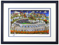 "Charles Fazzino Signed ""NY Yankees 2009 World Series Champions"" 23x30 LE Custom Framed Artist Enhanced 3-D Pop Art Serigraph Display (PA LOA) at PristineAuction.com"