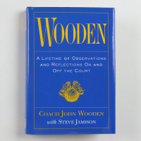 "John Wooden Signed ""Wooden"" Hardcover Book Inscribed ""Best Wishes"" (PSA COA) at PristineAuction.com"