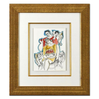 Yuroz Signed 22x25 Custom Framed Original Mixed Media Watercolor Painting at PristineAuction.com