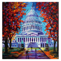 """Yana Rafael Signed """"The Capital"""" 24x24 Original Painting on Canvas at PristineAuction.com"""