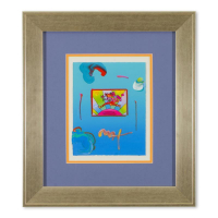 """Peter Max Signed """"Flower Jumper Over Sunrise"""" 18x22 Custom Framed One-Of-A-Kind Acrylic Mixed Media at PristineAuction.com"""