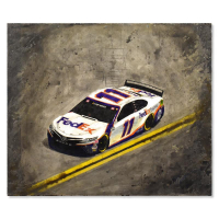 "Trevor Mezak Signed ""Nascar Fed Ex"" 36x30 Original Mixed Media Acrylic Painting at PristineAuction.com"