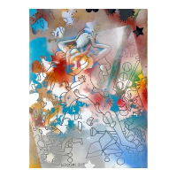 "Mark Kostabi Signed ""The Colrs Of Ambition"" 30x22 Original Artwork at PristineAuction.com"