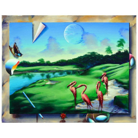 """Ferjo Signed """"Resting Flamingos"""" 16x20 Original Painting on Canvas at PristineAuction.com"""