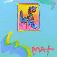 """Peter Max Signed """"Love"""" 21x24 Custom Framed One-Of-A-Kind Acrylic Mixed Media at PristineAuction.com"""