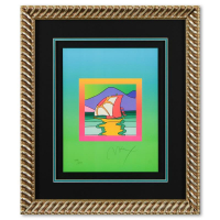 "Peter Max Signed ""Sailboat East on Blends"" Limited Edition 24x28 Custom Framed Lithograph #498/500 at PristineAuction.com"