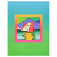 """Peter Max Signed """"Sailboat East on Blends"""" Limited Edition 24x28 Custom Framed Lithograph #498/500 at PristineAuction.com"""