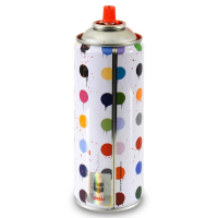 """Mr. Brainwash Signed """"Hirst Dots (Red)"""" Limited Edition Hand Painted Spray Can #125/200 with Thumbprint at PristineAuction.com"""
