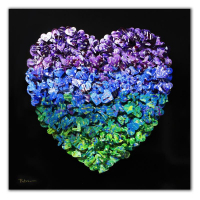 "Patricia Govezensky Signed ""Heart"" 20x20 Original 3D Metal Art on Wood at PristineAuction.com"