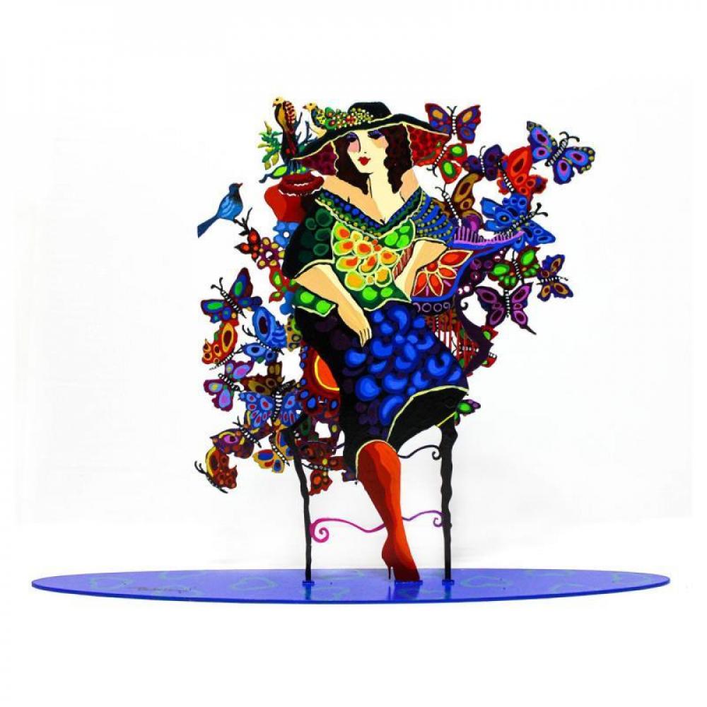 "Patricia Govezensky Signed ""Madam"" 12x16 Original Painting on Cutout Steel at PristineAuction.com"