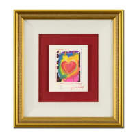 "Peter Max Signed ""Heart Series I"" Limited Edition 12x11 Custom Framed Lithograph #121/500 at PristineAuction.com"