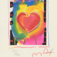 """Peter Max Signed """"Heart Series I"""" Limited Edition 12x11 Custom Framed Lithograph #121/500 at PristineAuction.com"""