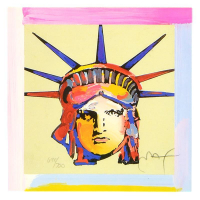 """Peter Max Signed """"Liberty Head X"""" Limited Edition 20x19 Custom Framed Lithograph #698/700 at PristineAuction.com"""