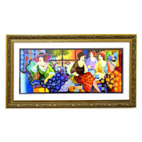 "Patricia Govezensky Signed ""Party of Four"" 35x66 Custom Framed Original Watercolor at PristineAuction.com"