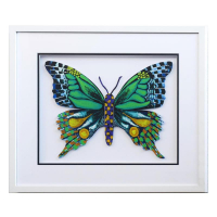 """Patricia Govezensky Signed """"Butterfly CCXXI"""" 19x22 Custom Framed Original Painting on Laser Cut Steel at PristineAuction.com"""