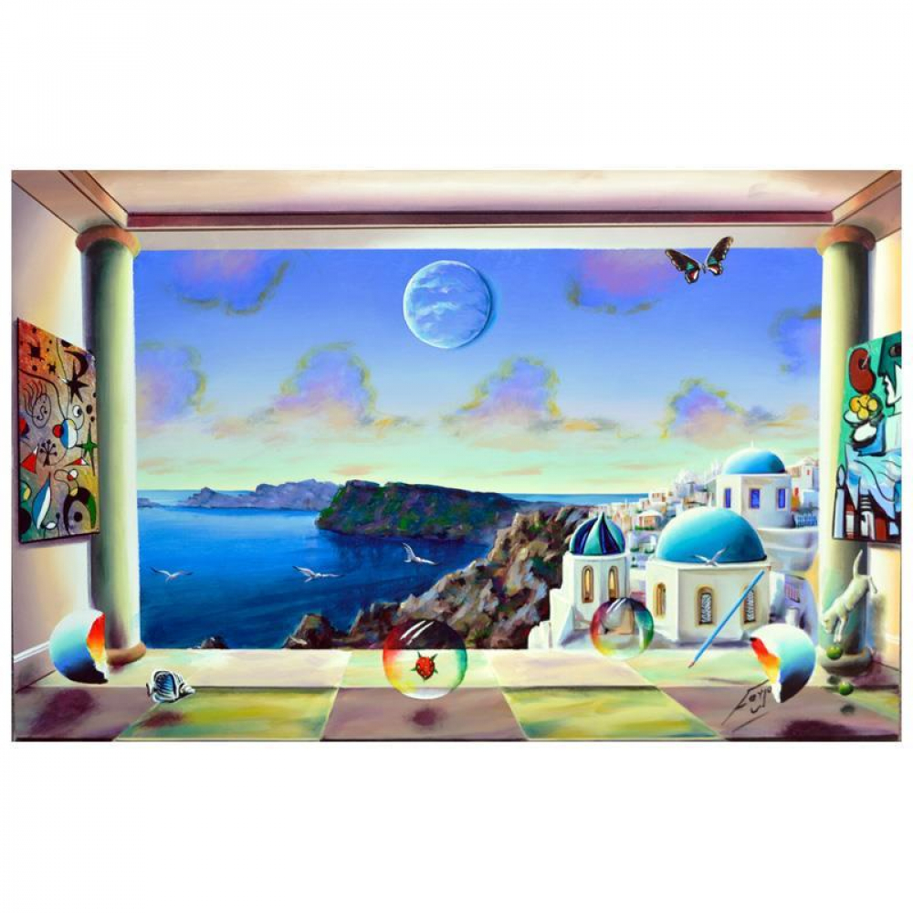 """Ferjo Signed """"Coastal View of Santorini"""" 24x36 Original Painting on Canvas at PristineAuction.com"""