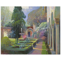 "Ming Feng Signed ""Garden Arches"" 30x24 Original Oil Painting on Canvas at PristineAuction.com"