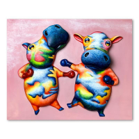 "Wang Signed ""Boxing Cows"" Hand Painted Limited Edition 25x31 Bas Relief Sculpture #1/3 at PristineAuction.com"