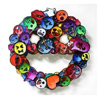 "Patricia Govezensky Signed ""Emoji"" 20x20 Original Painting on Cutout Steel at PristineAuction.com"