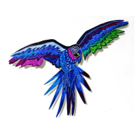 """Patricia Govezensky Signed """"Macaw XXIII"""" 11x18 Original Painting on Laser Cut Steel at PristineAuction.com"""