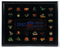 Vintage LE 1985 NFL Collectors 12x15 Custom Framed Pin Set Display (See Description) at PristineAuction.com